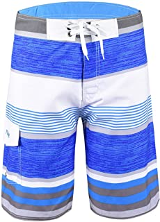 Nonwe Men's Tropical Stripe Beach Shorts Swim Trunks with Mesh Lining Blue Striped with White 34