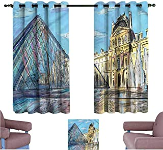 Mannwarehouse Sketchy Kids Room Curtains Louvre Palace Museum Paris Home Garden Bedroom Outdoor Indoor Wall Decorations 55