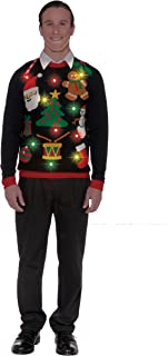 Forum Novelties Women's Everything Christmas Light Up Ugly Holiday Sweater