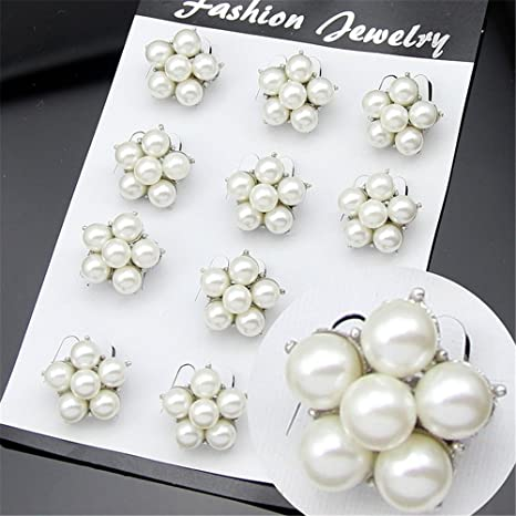 Style 2 Rainbow USIX Pack of 12 Floriated Assorted Mini Sparkling Crystal Rhinestone Button Brooches Pin Embellishment Set for Wedding Bouquet Cake Dress Corsage Boutonniere DIY Decoration