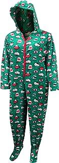 Women's Christmas Cheer Fleece Footie Onesie Hooded Pajama