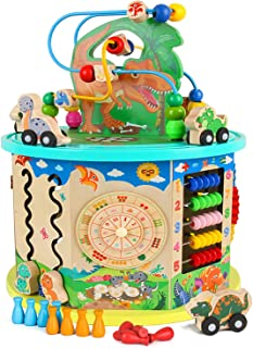 KMiKE 14 in 1 Dinosaur Wooden Activity Cube Enlarge Type with Musical Instruments for Baby Kids , 11''x11''x14'' Early Educational Development Toy, Perfect Birthday for Kids (X-Large)