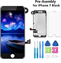 Screen Replacement for iPhone 7 Black 4.7 Inch LCD Display Pre-Assembly Touch Digitizer A1660 A1778 A1779 with Front Camera, Proximity Sensor, Earpiece and Screen Protector