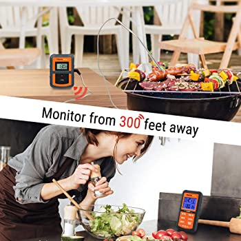 ThermoPro TP-07 Wireless BBQ Meat Thermometer for Grilling Smoker Oven Kitchen Turkey Remote Digital Cooking Food Gri...