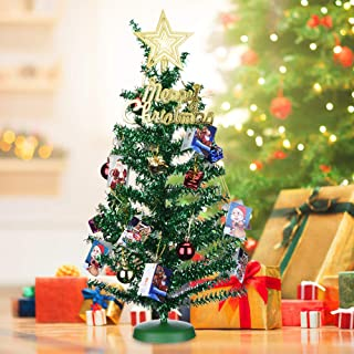 KEYNICE Tabletop Mini Christmas Tree Artificial Home Decor with 22 Pcs Christmas Decoration Ornaments Glittering Christmas Trees Set for DIY Room Party Xmas Decoration (Green)