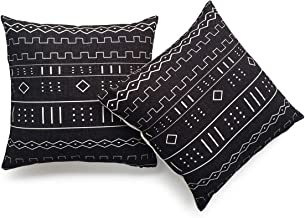 Hofdeco Decorative Throw Pillow Cover HEAVY WEIGHT Cotton Linen African Mud Cloth Ethnic Black Geo Stripe 18x18 45cm x 45cm Set of 2