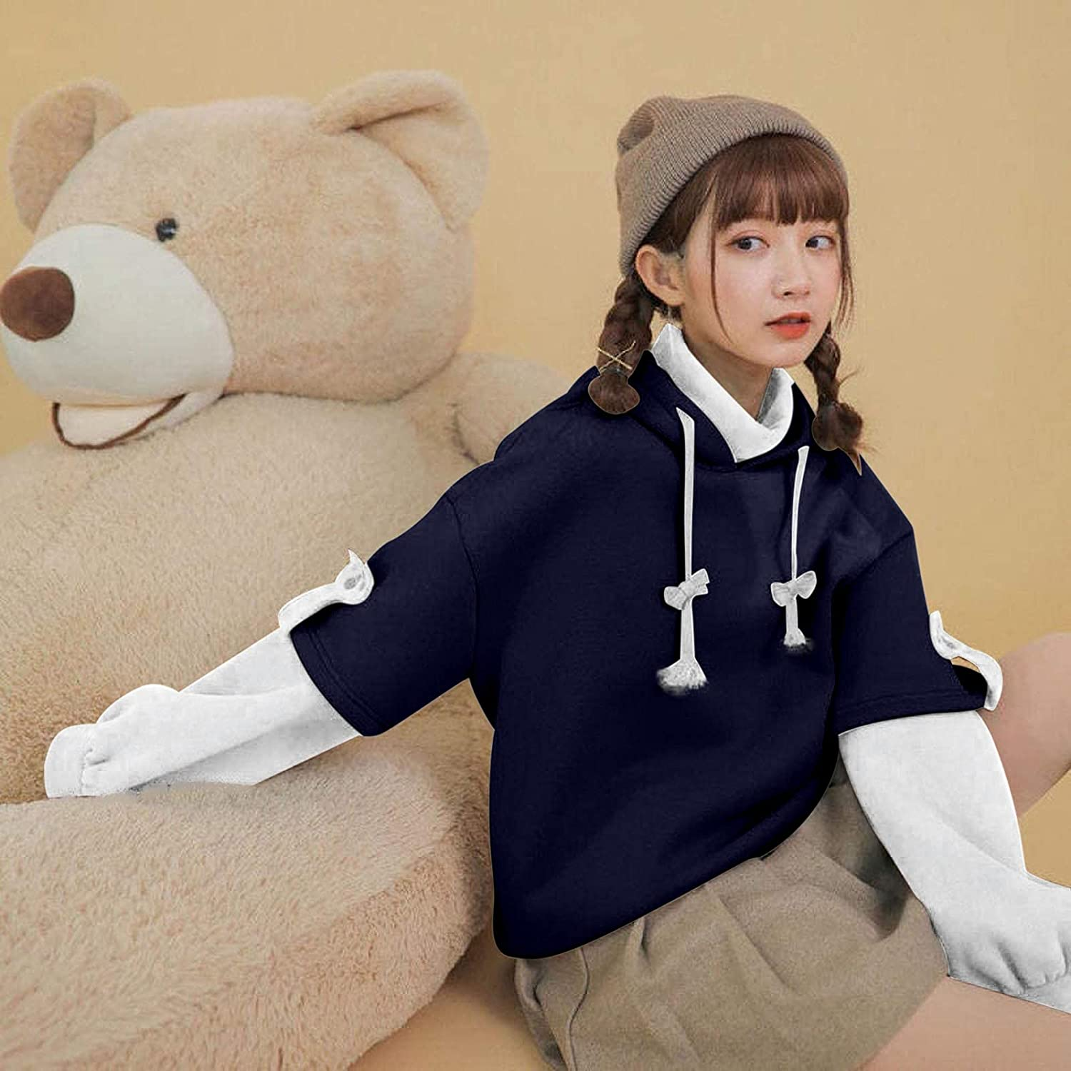 BOXIACEY Autumn Winter Woman's Hoodie Long Sleeve Sweatshirt Cute Brown Bear Personality Bag Hooded Pullover