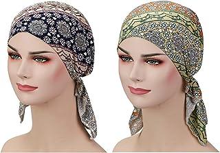 2 Pieces Chemo Hat Turban Beanie, Pre-Tied Headwraps Headwear for Women