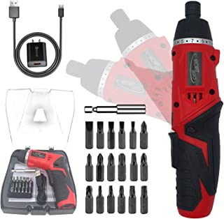 STORMHERO Electric Cordless Power Screwdriver, Rechargeable Screwdriver Drill Set 1300mAh with 18 Bits & LED Light Functio...