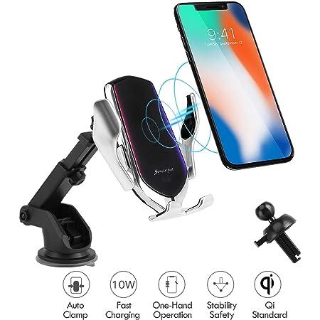 Hinyx Kabelloses Auto Ladegerät Qi 10w Schnellladung Automatisches Spannen Auto Entlüftung Windschutzscheibe Halterung Handyhalter Für Iphone 8 8 Plus X Xs Max Xr Samsung S9 S9 S8 Elektronik
