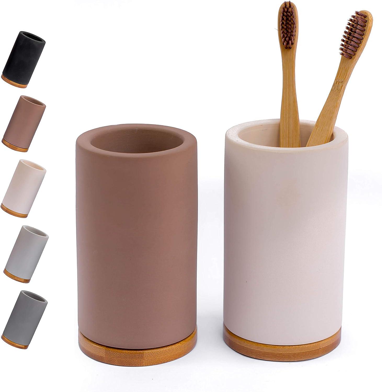 Brown Matani Bamboo Diatomite Toothbrush Holder