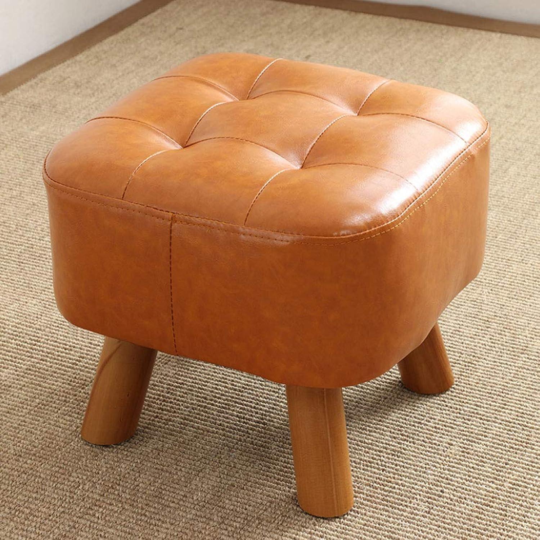 NJ STOOLS- Pure Wood color shoes Stool Imitation Leather Stool Sofa Stool Dressing Stool (color   orange, Size   35x35x34cm)