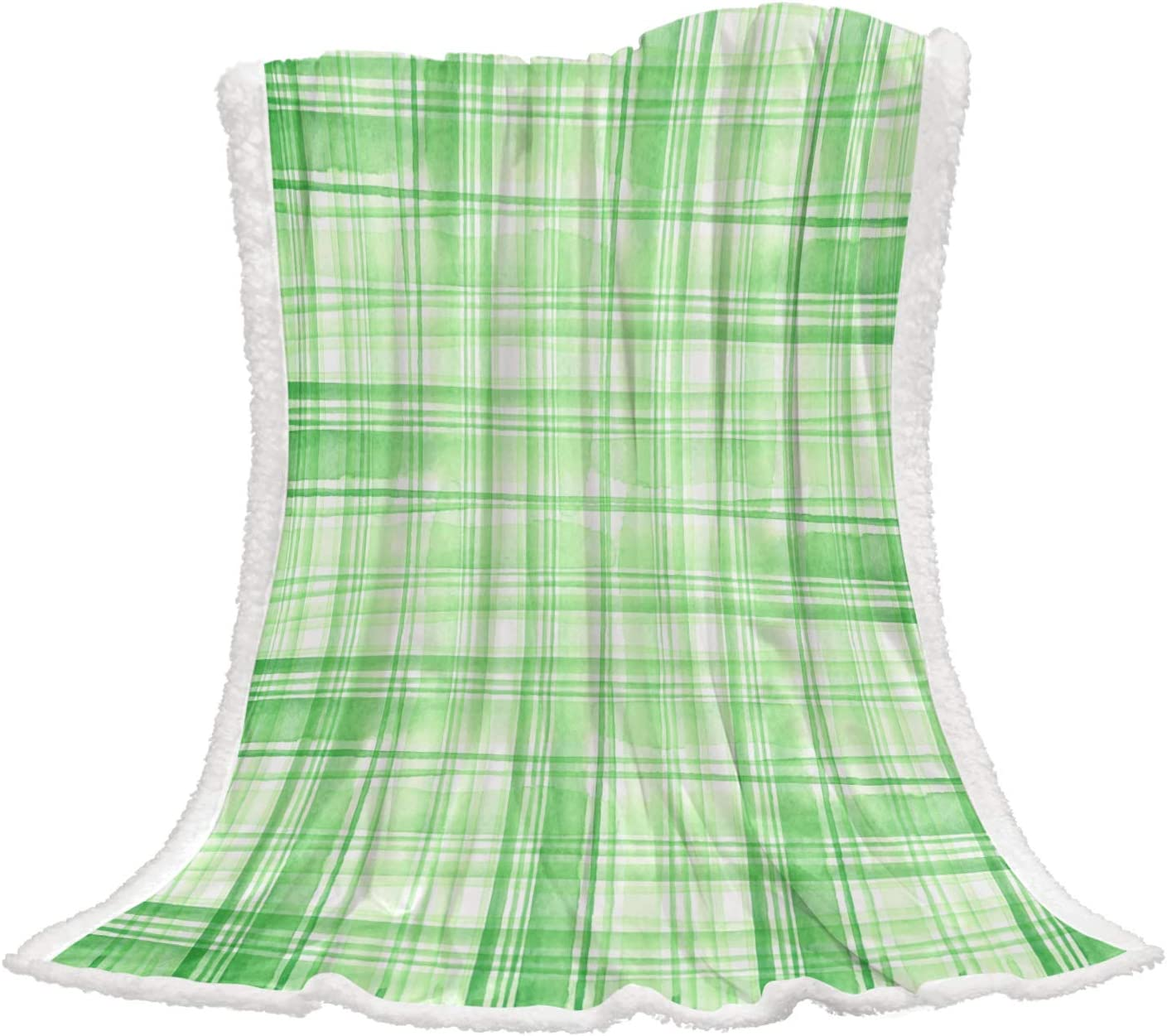 Futuregrace Green Lattice Ink Painting for Fleece Deluxe Throw Outlet SALE Blankets