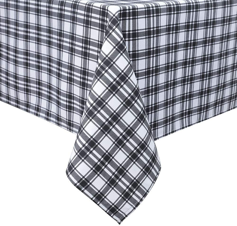 Panovous Square Checkered Tablecloth Textured Weights Fabric Wrinkle Resistant Table Cloth For Picnic Dinner And Party Black And White Gingham Pattern 54 X 54 Inch Amazon Co Uk Garden Outdoors