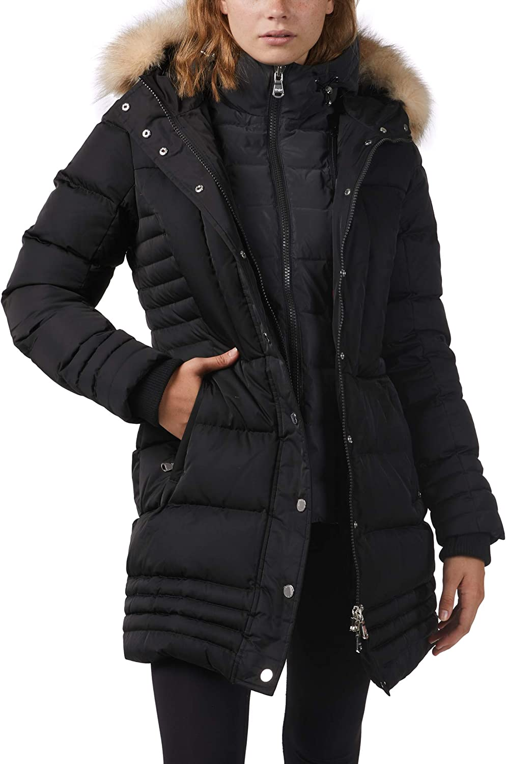 Pajar Women's Discovery Down Quilted Trench Parka Jacket with Reflective Bib and Fur Hood