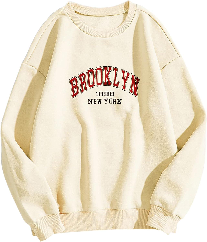 Meladyan Brooklyn Letter Graphic Print Crewneck Sweatshirt Oversized Drop Shoulder Premium Fleece Pullover Top Jumper