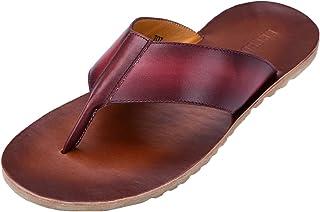 Genda 2Archer Men's Summer Leather Outdoor Flip Flops Slippers Thong Sandals