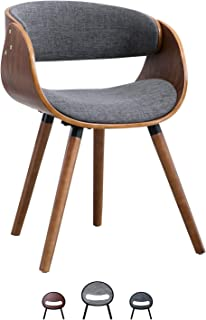 Living Room Chair Dining Chair Modern Living Accent Chair Fabric Wrap Around Back and Walnut Wood Finish(Light Grey)