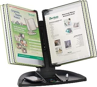 Tarifold Desktop Reference System With Built-in Desk Organizer, 10 Display Pockets, Black Base (TDBL291)