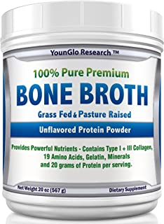 Bone Broth Protein Powder from Grass Fed Beef - 20oz - High in Collagen and Gelatin - Paleo and Keto Friendly - Unflavored (1 Pack)