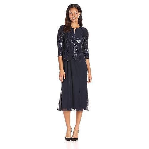 4daf254e9ba5 Alex Evenings Women's Tea Length Mock Dress with Sequin Jacket (Petite and  Regular Sizes)