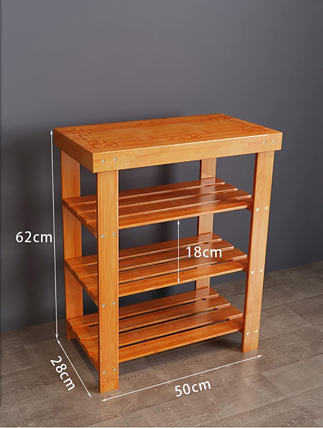 shoes Bench Organizing Rack shoes Rack, Three Bamboo Bamboo shoes Rack, Home Simple shoes Storage Rack, Living Room shoes Shelf (Size   50cm)