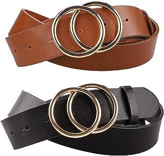 Earnda Women's Faux Leather Belts Dress Double Buckle PU Waistband 2 Pieces