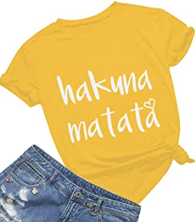 dcae6c283 Women's Hakuna Matata T-Shirt Cute Letter Print Short Sleeve Tee Top Funny  Graphic T