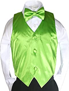 New 2pc Boys Satin Lime Green Vest and Bow tie Set from Baby to Teen (4T)