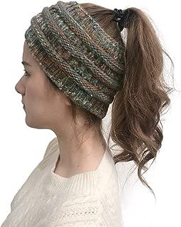 Vpogn Cable Knit Ear Warmer Headband Winter Fleece Lined Headwrap (Grey)
