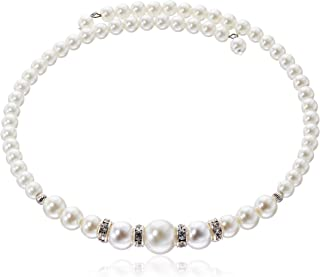 1928 Jewelry Simulated Pearl and Crystal Coil Choker Necklace 15