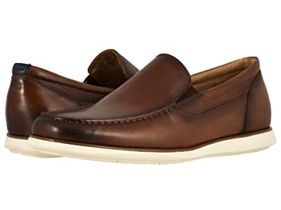Florsheim Atlantic Moc Toe Venetian Slip-On (Cognac Smooth w/ White Sole) Men