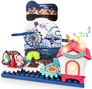 UNIH Toys for 3 Year Old Boys Girls Gears Building Set for Kids with Magnetic Marble Run Building Block, Amusement Park wi...