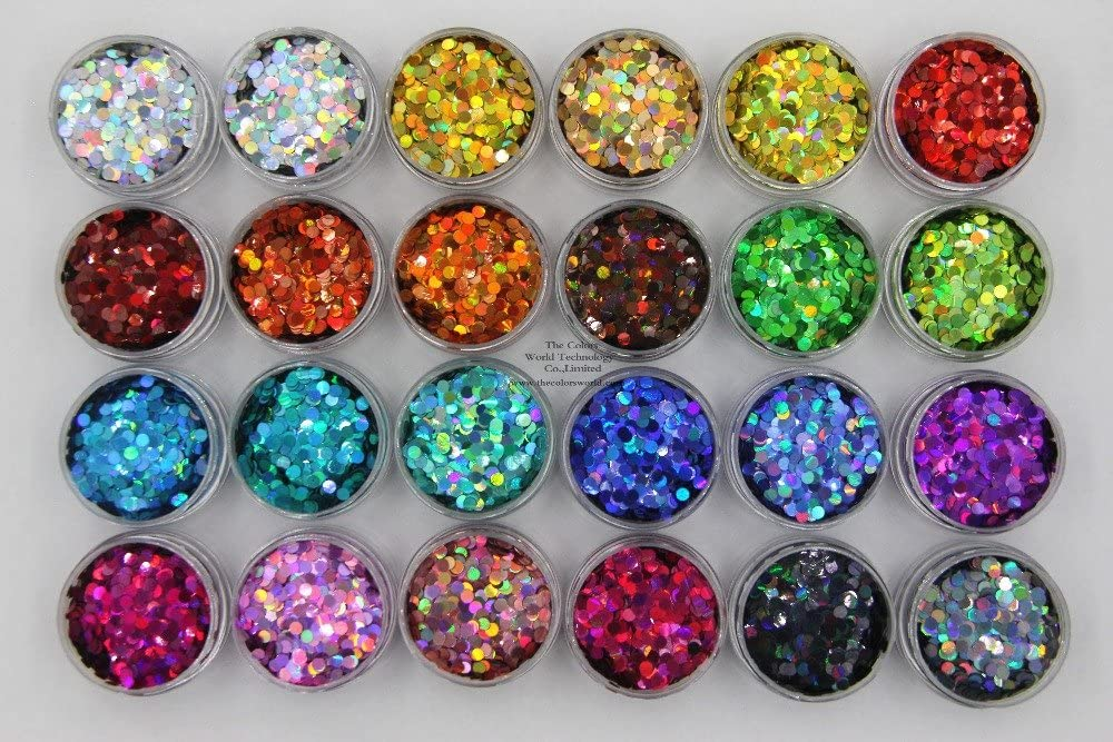 Max 75% OFF Gabcus 24 Holographic Colors Round Dot Size fo 3MM Glitter Shape Reservation