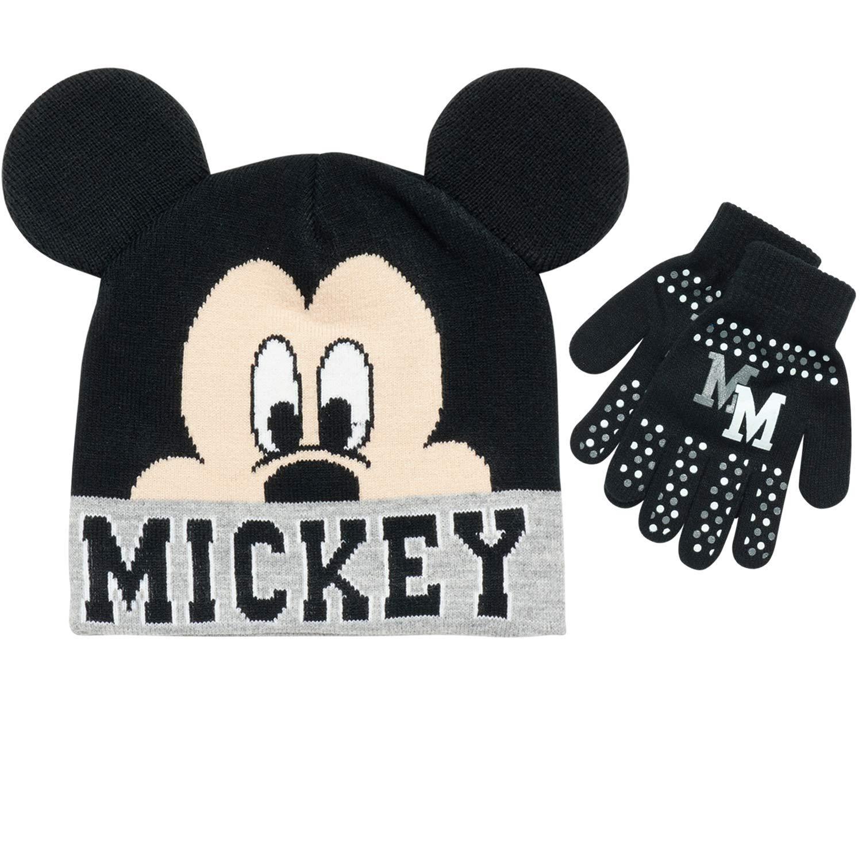 Mickey Juego de gorro con pomp/ón y guantes para ni/ño