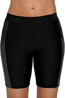 Vegatos Women's Long Board Shorts High Waist Sports Swim Shorts Swimsuit Bottoms