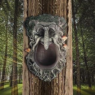 YLSMILE Tree Faces Decor Outdoor Green Man Head Planter Bird Feeder Yard Art for Gnomes Gifts for Gardeners Men (Feeder)