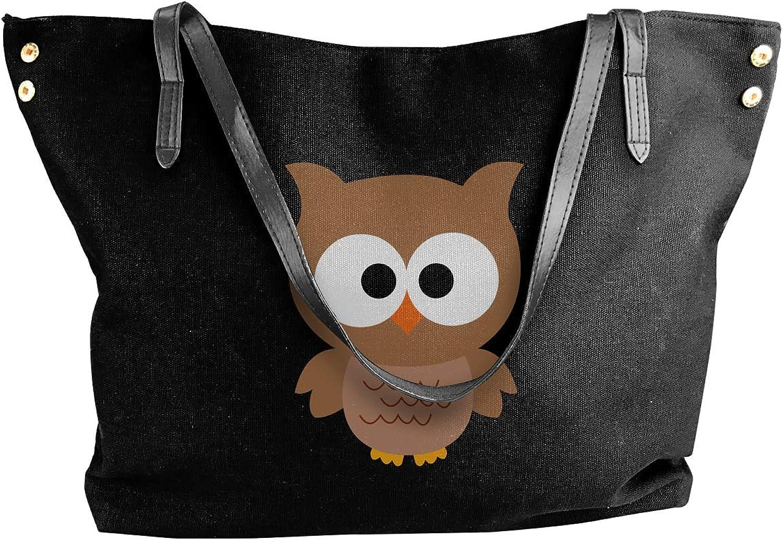Cartoon Owl Women'S Casual Canvas Shoulder Bag For Work Big Shopping Bag