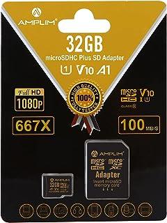 32GB MicroSD Micro SD SDHC Memory Card Plus Adapter (Class 10 U1 UHS-I V10 A1 HC Extreme Pro) Amplim 32 GB Ultra High Spee...