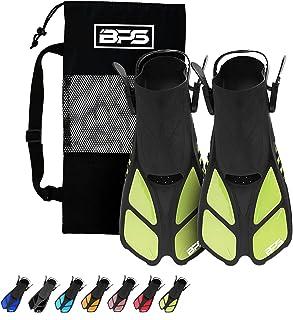 BPS Snorkel Fins, Travel Size Swim Fins Open Heel Adjustable Flippers for Swimming Diving Snorkeling - Men Women