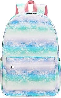 School Backpack for Girls Tie Dye School Book bag fit 15 inch Laptop Kids Boys Travel Daypack (Tie Dye Blue green-878)