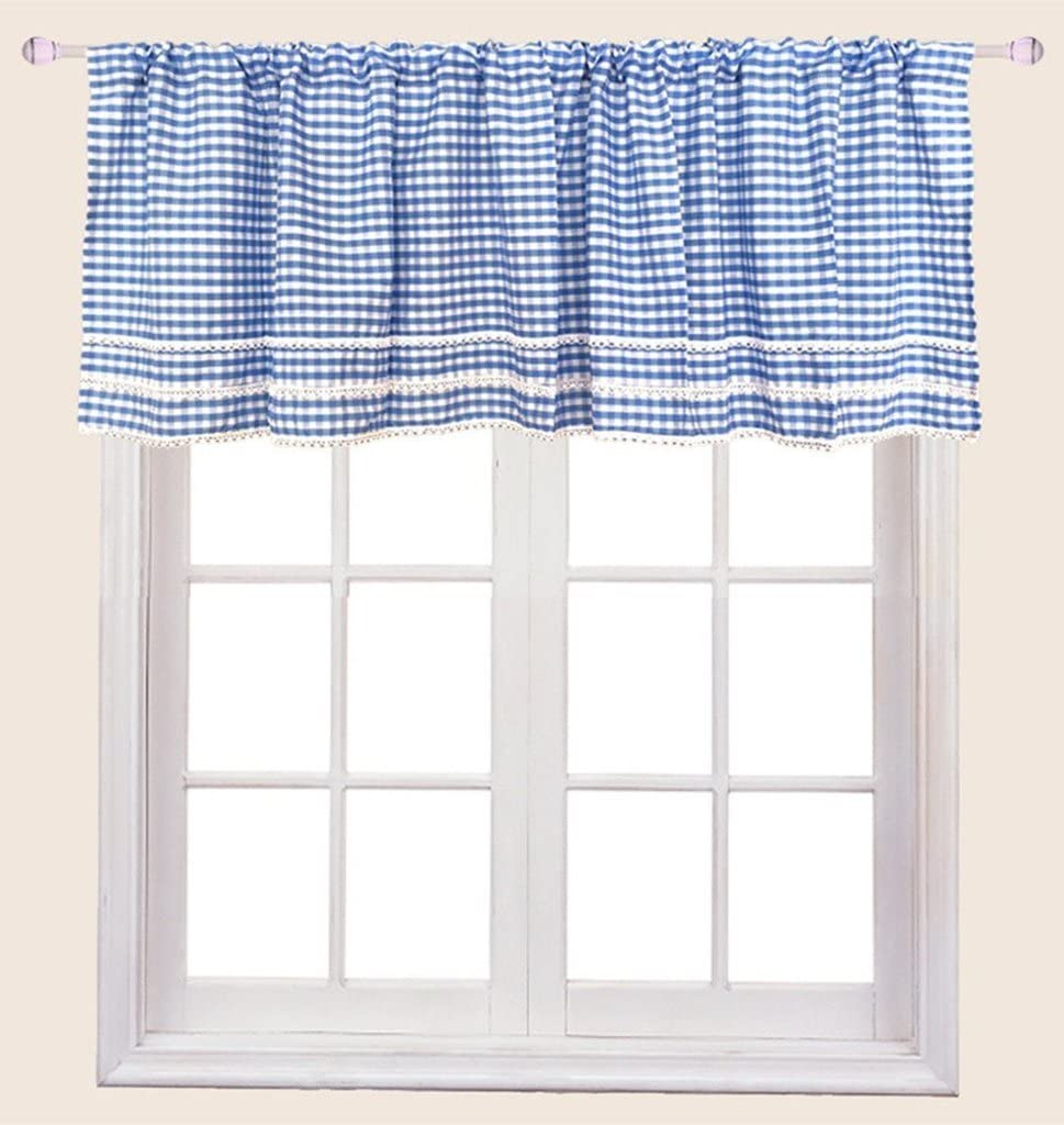 ZHH Crochet Side Kitchen Curtain National Max 80% OFF products White Cafe Blue Valances Plaid