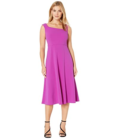 Donna Morgan Stretch Crepe Sleeveless Asymmetric Neckline Fit and Flare Dress (Orchid) Women