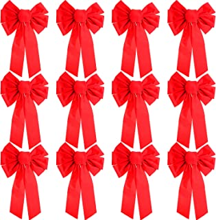 Patelai 12 Pieces Christmas Red Velvet Bows Large Bow Tie Holiday Bow for Christmas Decoration (16 by 10 Inches)