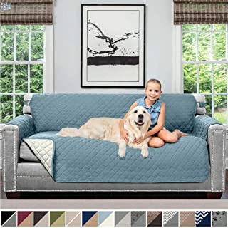 Sofa Shield Original Patent Pending Reversible Large Sofa Protector for Seat Width up to 70 Inch, Furniture Slipcover, 2 Inch Strap, Couch Slip Cover Throw for Pets, Kids, Cats, Sofa, Seafoam Cream