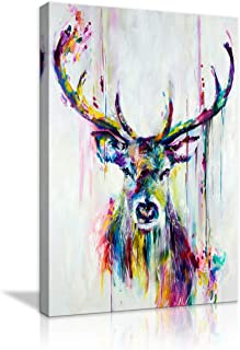 4 Panel Wall Art Deer Stag With Long Antler In The Bushes Painting The Picture