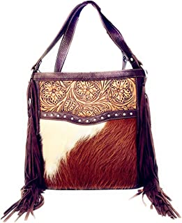 Concealed Carry Leather Western Floral Tool Cowhide Womens Fringe Clutch Crossbody in 2 colors