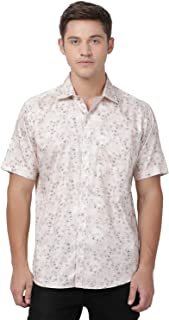 Zeal Light Beige Coloured Floral Printed Cotton Regular Fit Half Sleeve Shirt for Men