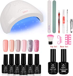 Beetles Gel Nail Polish Starter Kit with 48W UV/LED Light Nail Lamp Base Top Coat (3 Timer Setting), Soak Off Gel Color 6 Spring Summer Mauve Set Manicure Tools Essentials Nail Art Designs Series 2