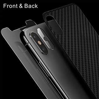 Singularity Products iPhone Xs Max Front Back Screen Protector, Tempered Glass Screen Protectors HD Clear Anti Fingerprint Scratch Textured Back Screen Protector Film Compatible iPhone Xs Max 6.5 inch